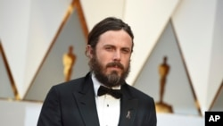 Casey Affleck arrives at the Oscars on Sunday, Feb. 26, 2017, at the Dolby Theatre in Los Angeles.