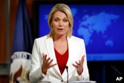 "State Department spokeswoman Heather Nauert, shown during a briefing in Washington on Aug. 9, 2017, reaffirmed the U.S. position on a snap Venezuela election saying, ""This vote would be neither free nor fair. It would only deepen, not help resolve, national tensions."""