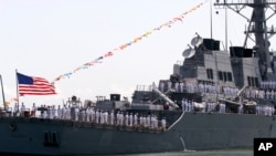 The American navy ship, USS Barry seen taking part in the 50th anniversary celebrations of the Nigerian navy at the harbor in Lagos, Nigeria, Friday, June 2, 2006.(AP Photo/Sunday Alamba)