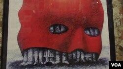 红色恐怖,90年代初时的宣传画(美国之音白桦拍摄)