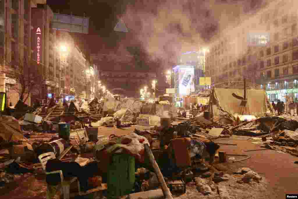 Tents and belongings of pro-European integration protesters are seen near Independence Square in Kyiv, Dec. 11, 2013.