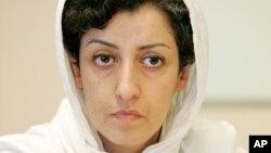 FILE - Iranian human rights activist Narges Mohammadi, June 9, 2008.