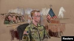 Binh nhất Bradley Manning trong bức phác thảo tại 1 phiên tòa ở Fort Meade, Maryland