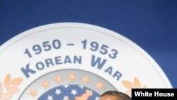 El presidente Obama dijo a los veteranos de Corea que gracias a su sacrificio millones viven en democracia.