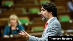 쥐스탱 트뤼도 캐나다 총리는 21일 중국이 캐나다의 사법부 독립을 이해 못한다고 강하게 비판했다. 전날 의회에서 신종 코로나 (COVID-19) 사태에 관해 연설하는 트뤼도 총리.