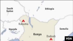 Ramani ikionyesha kambi za Kakuma and Dadaab Kenya