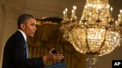 Tổng thống Obama phát biểu trong cuộc họp báo ở East Room, Tòa Bạch Ốc, 5/11/2014.