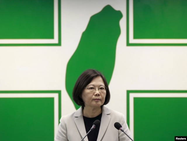 Taiwan's main opposition Democratic Progressive Party (DPP) Chairperson Tsai Ing-wen gives a speech before their central standing committee in Taipei, Taiwan, Nov. 4, 2015.