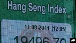 ດັດຊະນີຮຸ້ນ Hang Seng ທີ່ຮອງກົງ ຕົກລາຄາ ໃນວັນທີ 11 ສິງຫາ 2011 ມນ.