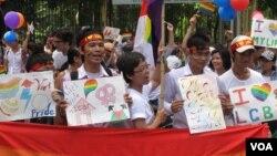 Những người tham gia đạp xe diễu hành vì cộng đồng LGBT vẫy cờ cầu vồng, Hà Nội, 5/8/2012. (Marianne Brown/VOA)