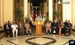 2013年7月3日埃及军事政变后,埃及军队首脑埃尔塞西将军发表电视讲话。