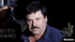 FILE - Recaptured drug lord Joaquin 'El Chapo' Guzman, Jan. 8, 2016.