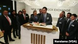 Pendaftaran Bursa Saham New York, Wall Street. (Foto: VOA/Naratama)