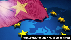 Hiệp định thương mại tự do giữa Việt Nam và Liên minh châu Âu dự kiến sẽ giảm thuế đối với 99% hàng hóa được giao dịch với EU, thị trường xuất khẩu lớn thứ hai của Việt Nam sau Mỹ. (Ảnh chụp màn hình trang EVFTA của Bộ Công thương)