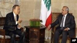 반기문 UN 사무총장(좌)과 마이클 술레이만 레바논 대통령