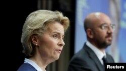 歐盟委員會主席馮德萊恩(女)與歐洲理事會主席米歇爾(路透社2020年6月19日)
