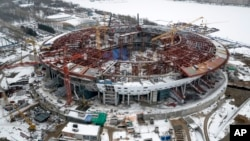 An aerial view taken on Feb. 15, 2015 shows the construction site of the new Stadium which will host matches of the 2018 World Cup in St. Petersburg, Russia.