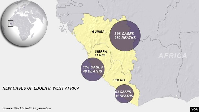 Ebola cases in West Africa, June 2014