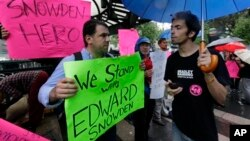 纽约联合广场支持爱德华·斯诺登的示威者