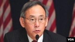 El secretario de energía de EE.UU., Steven Chu, durante la conferencia de prenssa en Beijing.