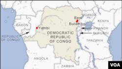 Ramani inayo onyesha miji ya DRC ya Beni, Butembo na Yunbi ambako kuna mlipuko wa Ebola na machafuko