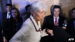 International Monetary Fund chief Christine Lagarde speaks to reporters at the IMF and World Bank Group spring meetings