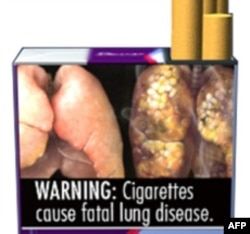 A cigarette warning showing a healthy lung and one diseased from smoking.