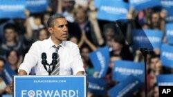 1일 미 콜로라도주에서 유세 중인 바락 오바마 미국 대통령.