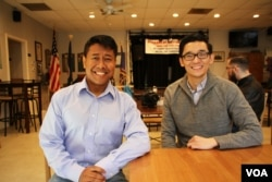 Chanda Choun, left, and his campaign's creative director Minh Pham, a Vietnamese-American, at Chanda Choun's first meet and greet event at John Lyon VFW Post 3150 in Arlington, Va., Feb. 18, 2018. (Sophat Soeung/VOA Khmer)