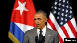 U.S. President Barack Obama delivers a speech at the Gran Teatro in Havana, Cuba, March 22, 2016. (REUTERS/Carlos Barria)