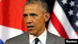 Shugaba Barack Obama a Cuba yayinda yake jawabi ta kafar talibijan jiya a Havana babban birnin Cuba