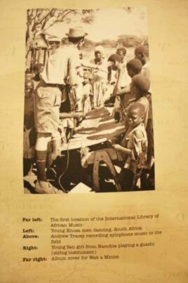 A photo of Andrew Tracey recording xylophone music in Mozambique on display at ILAM