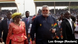 Ghana's former President Jerry Rawlings arrives for the the swearing-in of Ghana's new President Nana Akufo-Addo in Accra, Ghana January 7, 2017. REUTERS/Luc Gnago