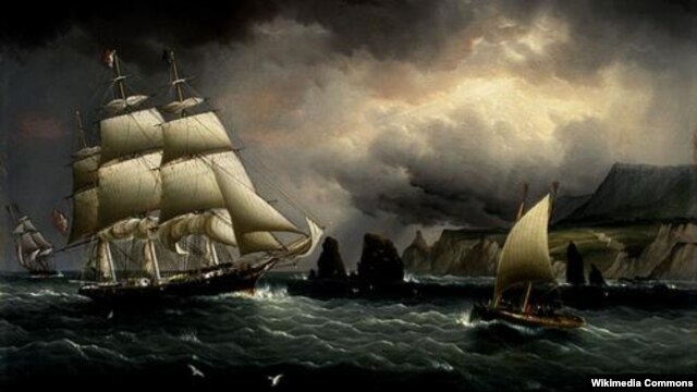 A painting of the Flying Cloud by American painter James Buttersworth