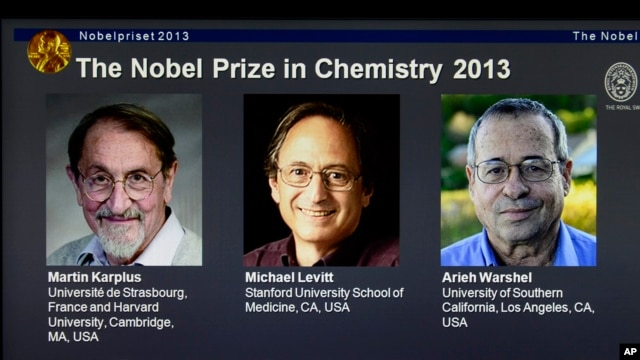 Laureates Martin Karplus, Michael Levitt and Arieh Warshel as winners of the 2013 Nobel Prize in chemistry, announced by the Royal Swedish Academy of Sciences in Stockholm, Oct. 9, 2013.