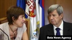 Predsednica skupštinskog odbora za evrointegracije Milica Delević i šef delegacije Evropskog parlamenta za Jugoistocnu Evropu Eduard Kukan.