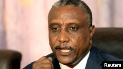 FILE - Yasir Arman speaks during joint news conference in Khartoum, Dec. 22, 2010.