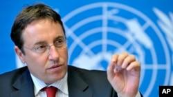 FILE - German Achim Steiner, Executive Director of the UN Environment Program (UNEP), speaks during a press briefing in Geneva, Switzerland.
