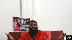 印度知名瑜伽专家巴巴.拉姆德夫6月1日称将为反腐败而战