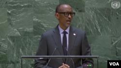 Rais wa Rwanda, Paul Kagame akizungumza kwenye mkutano wa Umoja wa Mataifa mjini New York. Septemba 24, 2019.