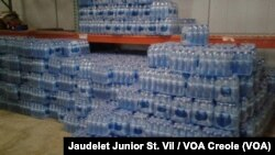 Packs of bottled water are stocked in the office of Civil Protection in Fort-Liberté, Haiti. (File)