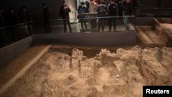 在南京大屠杀博物馆陈列着1937年南京大屠杀受害者的骨架