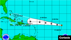 Posible trayectoria de la tormenta tropical Dorian.