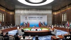 چین کے شہر شیامین میں پانچ ابھرتی معیشتوں کی کانفرنس برکس کا ایک منظر۔ 4 ستمبر 2017
