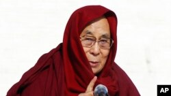 "FILE - The Dalai Lama, seen here in this Nov. 19, 2016, file photo, says he has ""no worries"" about Donald Trump's election as U.S. president and expects the businessman will align his policies with global realities."