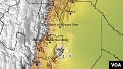 El epicentro se ubicó a 95 km al este de la ciudad de San Salvador de Jujuy y a 120 km al nor-noreste de la ciudad de Salta Capital.