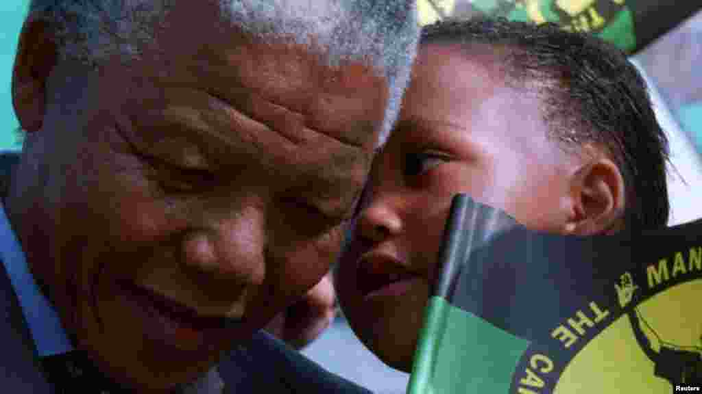 Nelson Mandela attends a rally in this 1993 photo.
