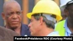 DG ya Safricas, David Blattner DG ya Offices des routes, Mutima Sakrini (1e G), na chantier moko ya Saut-de-mouton, Kinshasa, 14 février 2020. (Faceboo