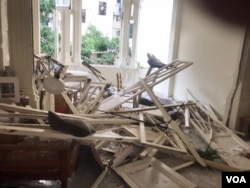VOA reporter Anchal Vohra's Beirut apartment was damaged by the explosion in Beirut, Lebanon, Aug. 4, 2020. (Photo: Anchal Vohra / VOA)