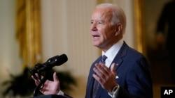 Tổng thống Joe Biden tham gia một sự kiện trực tuyến với Hội nghị An ninh Munich ở Phòng Đông của Nhà Trắng, ở Washington, ngày 19 tháng 2, 2021.